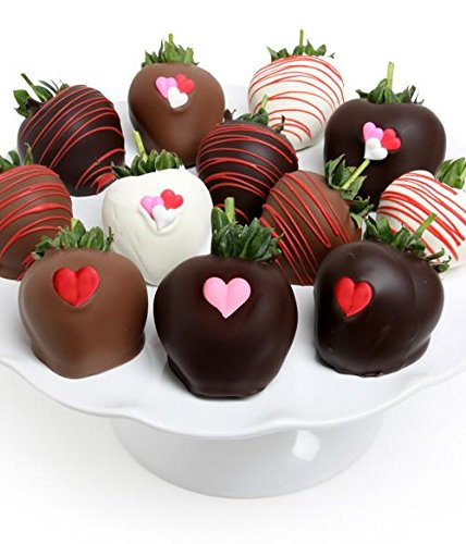 Belgian Chocolate Covered Strawberries 12pc | Loving Hearts | Gift Idea For Valentine's Day | Milk, Dark, and White Chocolate Gift Box