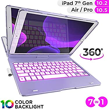 iPad Keyboard Case for 10.2-inch iPad 8th Generation (2020), 7th Gen, Air 3, Pro 10.5 in 11 Colors - 10 Color Backlight, 7 Modes, 360° Rotatable, Sli
