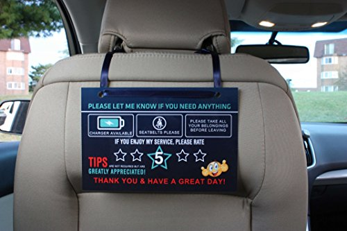5 Star Seat - Rating Tips Accessories Rideshare Driver Signs – Large 9x6 Inch Premium Thick Laminate 20 Mil Durable Backseat Headrest Display Card (Pack of 2) – All You Need for Your Business