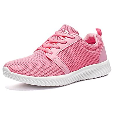 AMAWEI Women's Sneakers Fashion Sport Walking Running Shoes Breathable Lightweight Athletic Cross Trainer Pink Size: 6.5