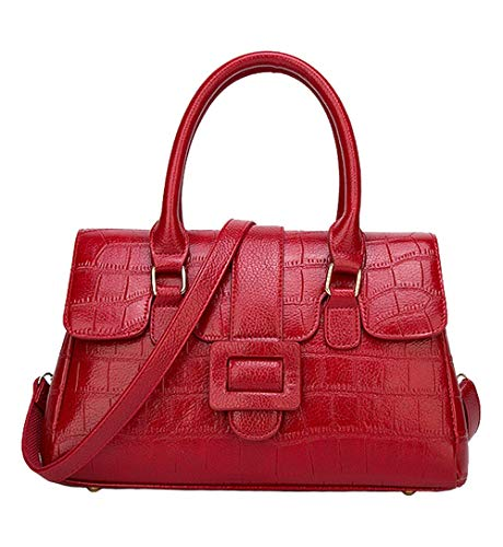 Handbag Crocodile Tote Pattern (Hynice Handbags for women Crocodile snakeskin pattern PU Leather Tote Bag(ZR02-Red))