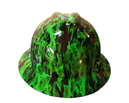 Izzo Graphics Green Fire MSA V-Guard Full Brim Hard (Full Graphics Hard Hat)