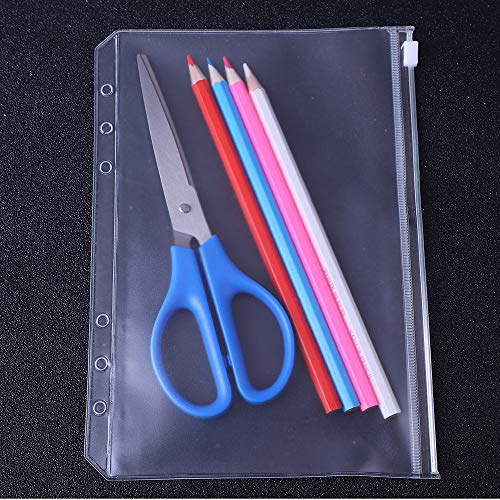 Antner 12 PCS Binder Pockets A5 Size Binder Zipper Folders for 6-Ring Notebook Binder, Waterproof PVC Pouch Document Filing Bags Photo #5
