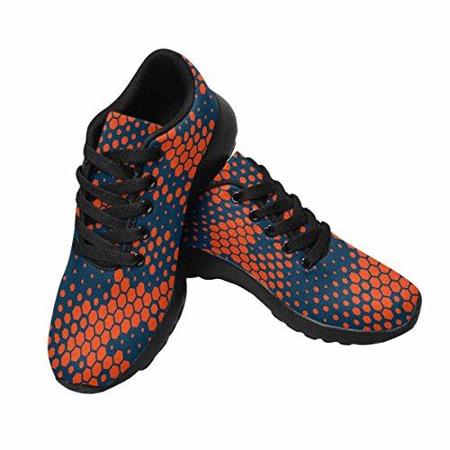 Interestprint Femmes Chaussures De Course De Jogging Sport Léger Marche Athlétique Espadrilles Hexagonal Camouflage Orange Multi 1