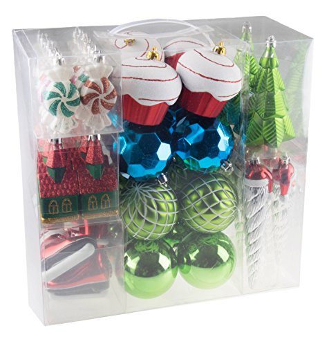 - 52 Piece Variety Bundle Shatterproof Christmas Tree Ornament Set | 9 Shapes - Trees, Cupcakes, Peppermints, Church, Ice Skates, Santa Icicle | Large 80mm Balls | Festive Holiday Décor | Gift Set