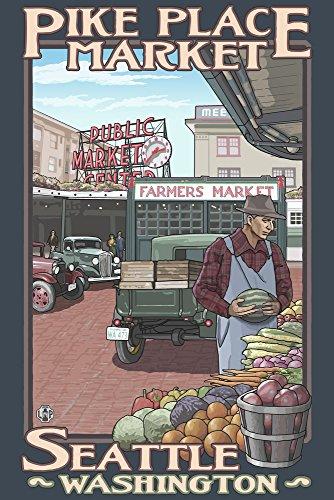 Seattle, Washington - Pike Place Market (12x18 Art Print, Wall Decor Travel Poster) ()