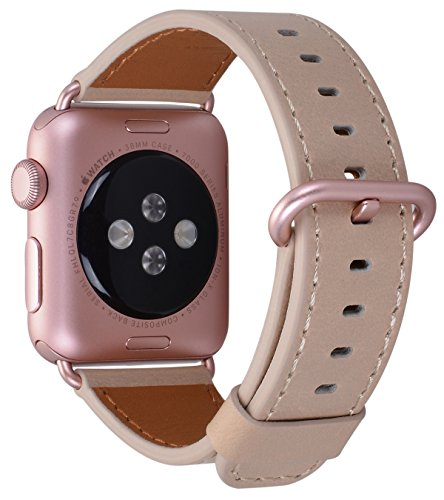 JSGJMY Compatible for Iwatch Band 38mm 40mm S/M Women Genuine Leather Loop Replacement Strap Compatible for iWatch Series 4 (40mm) Series 3 2 1 (38mm),Light tan with Rose Gold Clasp