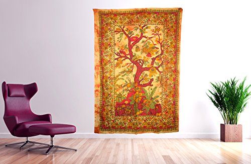Tribe Azure Wall Tapestry Tree of Life Large Wall Hanging Art Colorful Boho Hippie Bedding Nature Home Decor Decorative Collage Dorm Living Room Bedroom Yoga Bright Bohemian Colorful (Mustard)