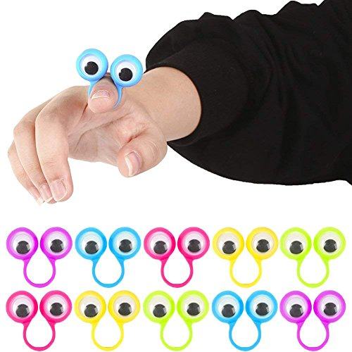 Shindel Eye Finger Puppets, Googly Eyes Rings Eyeball Ring Eye Monster Finger for Kids Party Favor Easter Toys, 25 PCS -