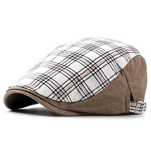 LOCOMO Checker Check Plaid Tartan Newsboy Flat Cap FFH363WHT