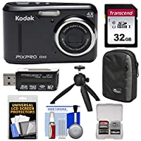 KODAK PIXPRO Friendly Zoom FZ43 Digital Camera (Black) with 32GB Card + Case + Tripod + Kit