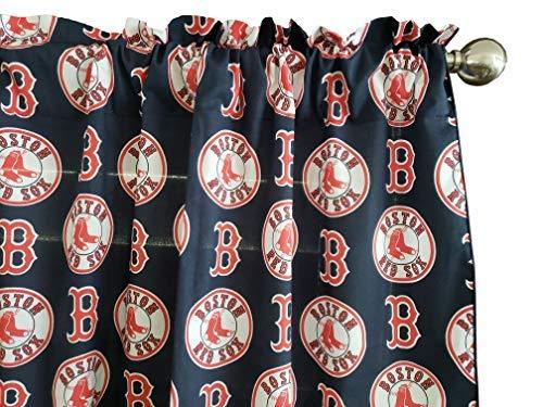 Zen Creative Designs 100% Cotton MLB Sports Team Boston Red Sox Navy Multi-Print Window Valance Panel/Kids Nursery Window Treatment Decor (14
