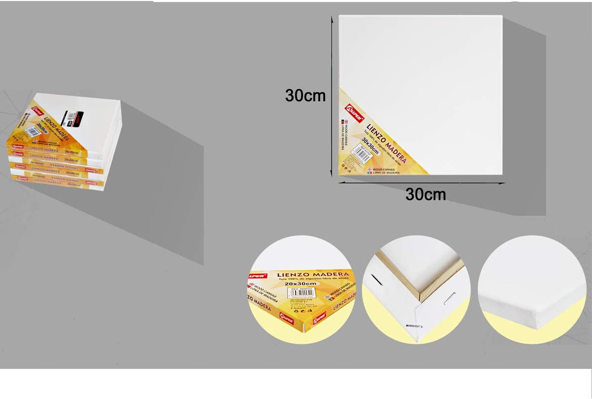 Libre de /ácido. pre-estirado acr/ílico y mixto color BLANCO Pack de 6 lienzos 18 x 24 cm de 100/% algod/ón apto para /óleo