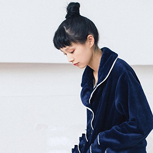 Coral De Familia Para El Larga color Sg Size Gruesos Manga Pijamas Blue Terciopelo Damas Hogar Gray FxnYWA