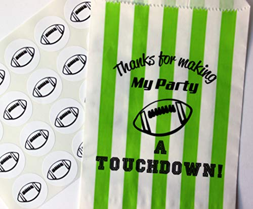 Football Party Treat Bags with Stickers, Thanks for Making My Party A Touchdown!, Green and White Stripe Bags, Set of 48 Bags and 48 Stickers