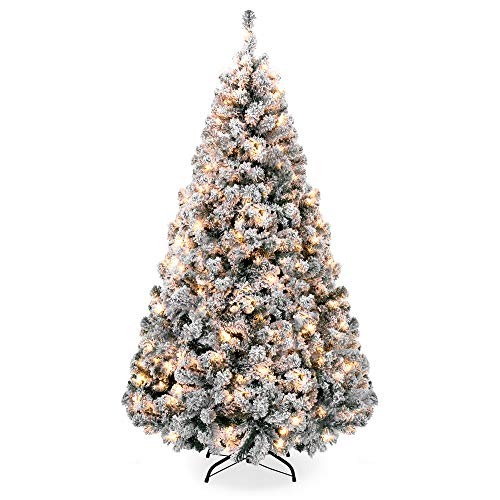 Best Choice Products 9ft Pre-Lit Snow Flocked Artificial Christmas Pine Tree Holiday Decor w/ 900 Warm White Lights (8ft Christmas Tree Lit Pre)