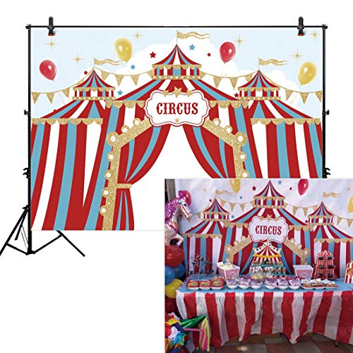 Allenjoy 8x6ft Red Circus Backdrop Carnival Carousel Big Top Tent First 1st Background Girl Boy Birthday Party Dessert Candy Cake Table Decor Decoration Baby Shower Banner Photo Shoot Booth ()