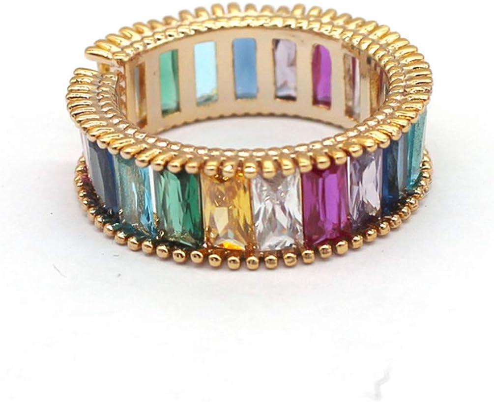 Holibanna Anillo de Punta Abierta Anillo de Eternidad de Piedras Preciosas de Colores Anillo de Dedo Vintage Ajustable para Mujeres Damas