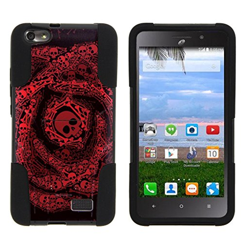 Huawei Raven LTE, [Strike Impact] Dual Layer Kickstand Phone Case Unique Skull Collection, for Raven LTE H892L by Miniturtle - Red Swirl Skulls