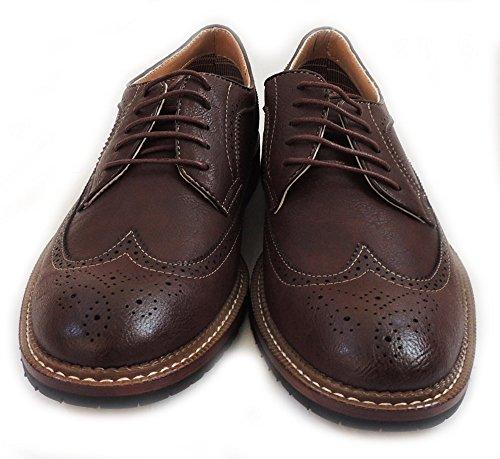 New Fashion Mens Stringate Oxford Wingtip Scarpe Casual Rivestite In Pelle Casual Mfa 19312 / Marrone