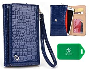 Samsung Galaxy Nexus LTE L700Ladies Croc Universal wristlet phone case in Navy Blue