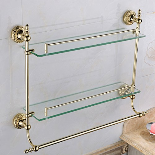 WINCASE Solid Brass Material Mounted Bathroom Shelf Double Layer Glass with Towel Bar Gold Finish, Concealed Screws Mounting Lavatory Shower 18.5 Inch Length by WINCASE (Image #1)