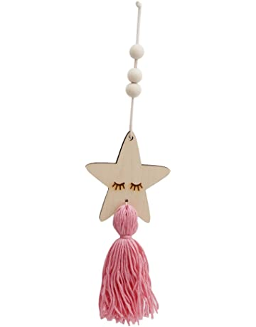 98f60431698c1f Lalang Nordic Style Cute Star Shape Wooden Beads Tassel Hanging Pendant  Kids Room Decor Wall Hanging