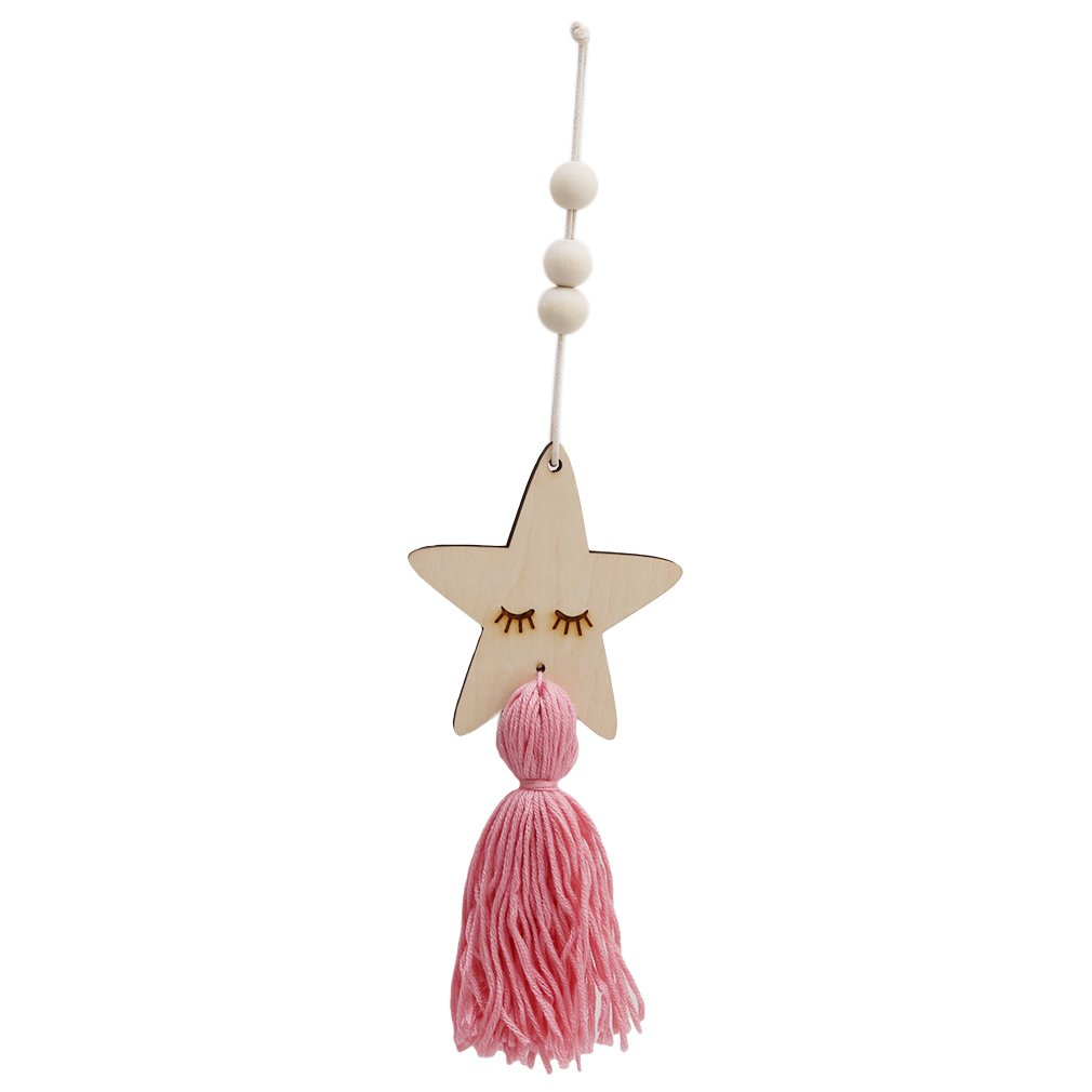 Lalang Nordic Style Cute Star Shape Wooden Beads Tassel Hanging Pendant Kids Room Decor Wall Hanging Ornament (grey) 88_Store