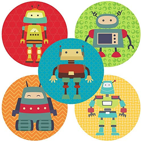 Robot Sticker Labels - Children or Kid, Boy Girl, Envelope Seal and Party Favor Labels - Set of 50