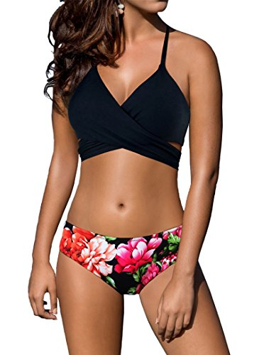 (Bikini Women's Swimsuit Criss Cross Halter Style Top with Floral Printed Bathing Suit Bottoms Underwear for Girls Black)