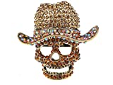 Alilang Giant Colorful Light Topaz Crystal Rhinestone Skull Cowboy Hat Statement Ring