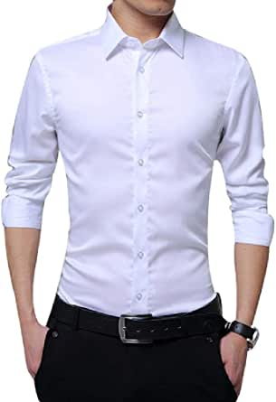 Camisa de manga larga para hombre, Slim Fit Solid Business ...