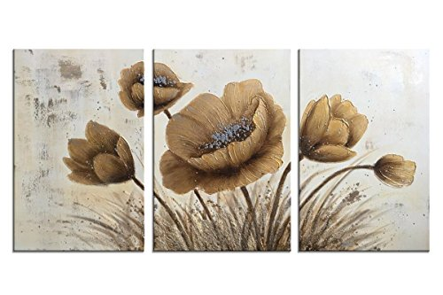 - HLJ ART Handmade Golden and Silver Abstract Canvas Oil Painting for Home Wall Decor (Golden-B, 16x24inx3pcs)