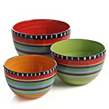 Gibson Elite Pueblo Springs 3 Piece Bowl Set, Bright Hand Painted Designs