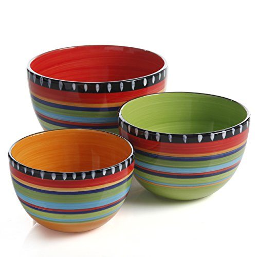 Gibson Elite Pueblo Springs 3 Piece Bowl Set, Bright Hand Painted Designs