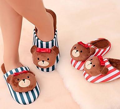 Cartoon Brown Bear Design Warm Winter Indoor Outdoor Slippers for Women-Red//Blue