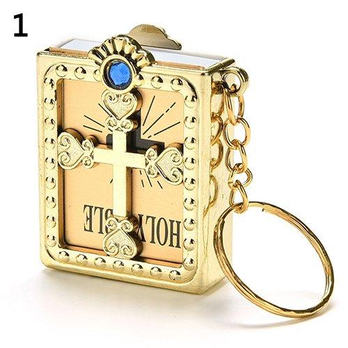 lightclub Fashion Mini Holy Bible Miniature Paper Spiritual Christian Jesus Keychain Keyring Gold