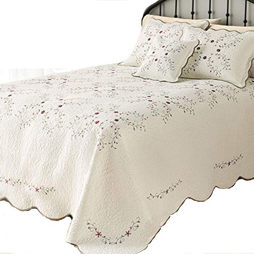 CribMATE 100% Cotton Quilted Bedspread, Luxury Amelia Embroidered Bedspread White Embroidered Flower Quilted Blanket Gift Idea for Girl Women (Over-Sized King 1 Quilt 2 Sham Set)