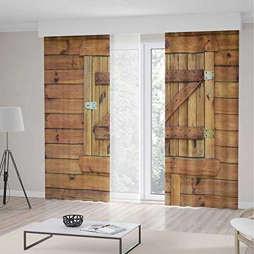 TecBillion Decor Collection,Shutters,for Bedroom Living Dining Room Kids Youth Room,Closed Wooden Shutters Planks Rough Grunge Countryside Classical Design Print,103Wx96L Inches