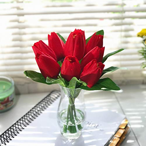 Enova Home Silk Tulips Centerpiece in Clear Glass Vase with Faux Water Flower Centerpiece Home Decor (Red) ()