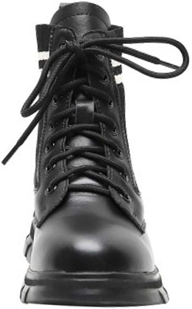COOLCEPT Mujer Moda Corto Tacón Court Botas con Cordones Botas Otoño Colegio Tobillo Alto Botas Black Talla 33 Asian: Amazon.es: Zapatos y complementos