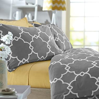 Pinzon 300-Thread-Count Lattice Duvet Cover Set - Full/Queen, Platinum