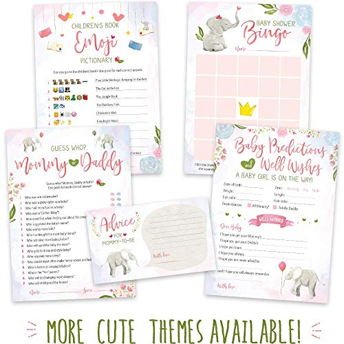 Baby Shower Games for Girls - Pink Elephant Theme - Pack of 5 Activities for 50 Guests, 5x7 Cards | Baby Shower Decorations for Girls, Favors, Party Supplies ()
