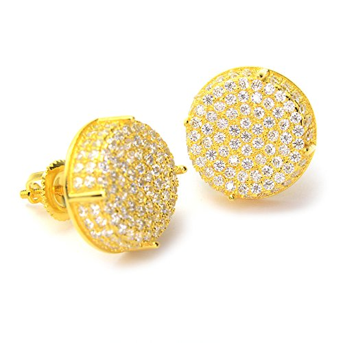 - Men's Full Iced Out Sterling Silver CZ Round Setting Screw Back Earring BE 11403 (Gold Plated)