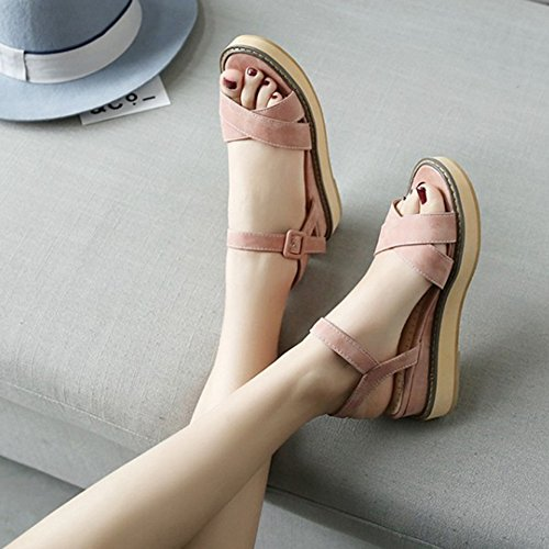 Pink Materail Fashion Sandals Nubuck Women Sandals and Women Casual for Thick SJJH with Platform xOFPwqggY