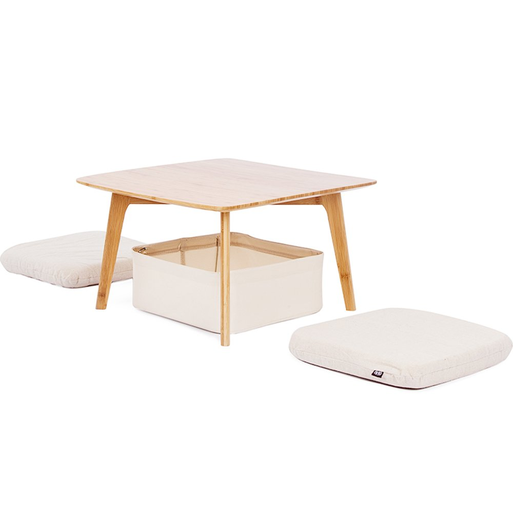 Fabulous Details About Zens Bamboo Small Coffee Table Square Tatami Table With Storage Basket And 2 Home Interior And Landscaping Ologienasavecom
