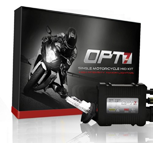 OPT7 Blitz 35w Single HID Kit for Motorcycles - 4x Brighter - All Bulb Sizes and Colors - Simple Install - 2 Yr Warranty [H4 Hi-Lo - 6000K Lightning Blue]