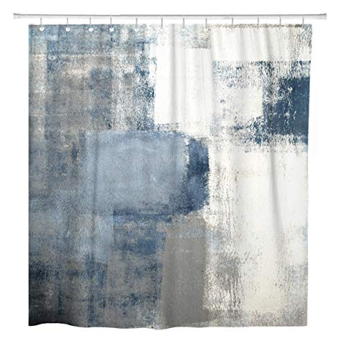 - ArtSocket Shower Curtain Gray Contemporary Blue and Grey Abstract Painting Home Bathroom Decor Polyester Fabric Waterproof 72 x 72 Inches Set with Hooks
