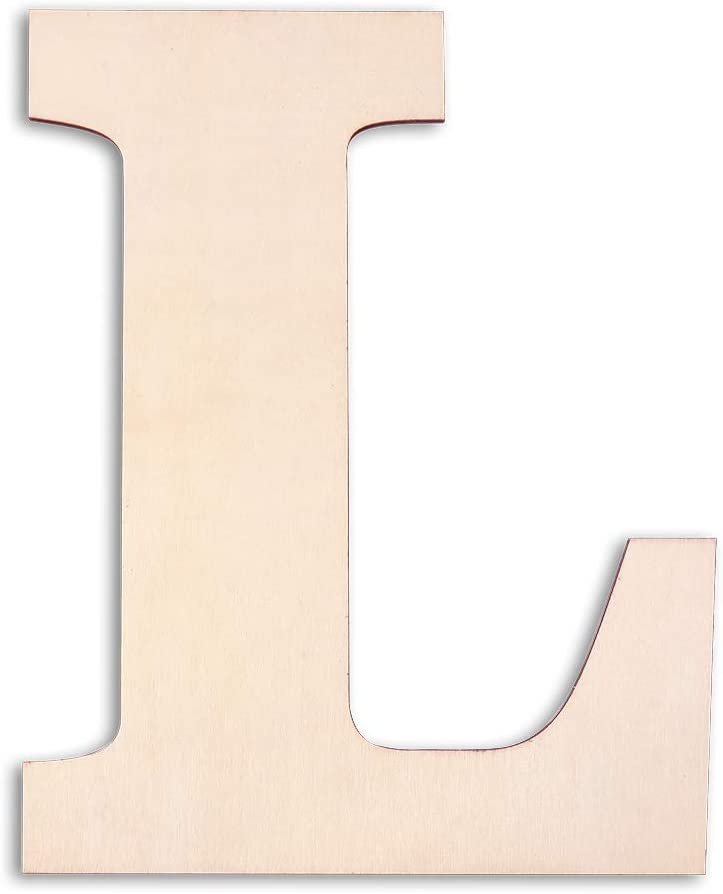 """Caydo 12 Inch Unfinished Wooden Letters Self-Adhesive Wooden """"L"""" for Painting and Home Wall Decoration (12"""" - L)"""