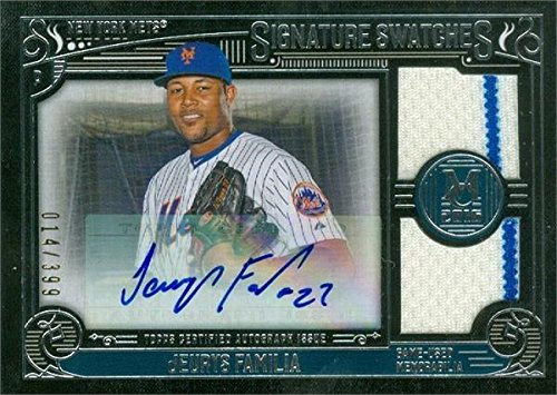 Jeurys Familia autographed player worn jersey patch baseball card (New York Mets) 2016 Topps Signature Swatches (Authentic Player Autographed Card)